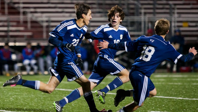 Salesianum's Gavin Ford (No. 23) celebrates his game-winning goal in the second half of the DIAA Division I State Soccer Championship Game on Saturday at Smyrna High School in Smyrna.