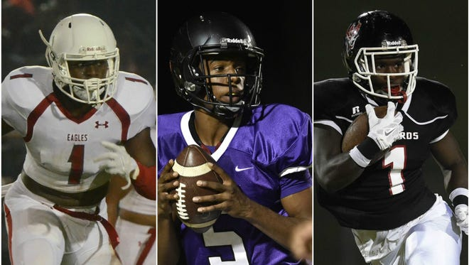 East Nashville's Jacob Phillips (left), Cane Ridge's D.J. Thorpe (middle) and Pearl-Cohn's Darius Hunter Jr. (right) were among the 46 athletes chosen to the 2016 MNPS All-City football team.