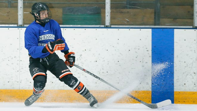 Jake Tortora takes part in the Next Level Prospect Development Combine at Thomas Creek Ice Arena on Saturday.