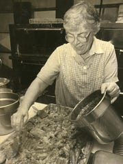 Sister Lorraine Biebel, pictured working at The Kitchen