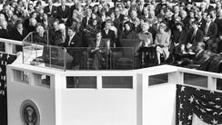 President Ronald Reagan delivers his inaugural address