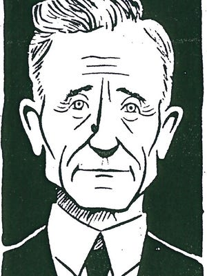 """Drury President Dr. Thomas William Nadal as portrayed in one of Kennedy's """"Minute Biographies."""" Nadal was Drury president from 1917 to his retirement in 1939."""