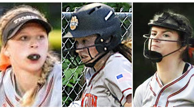 Taunton High softball players, from left to right, Hanna Aldrich, McKenzie McAloon and Kelsey White. The trio will take part in the first-ever charity home run derby at Austin Prep High school on Sept. 13.