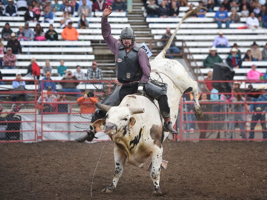 PRCA bull rider Bowyn Allemand, from Irene, South Dakota,