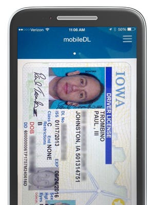This image shows the look of Iowa's mobile driver's license app.