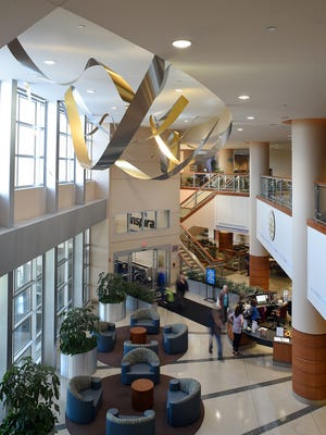 "Artist Richard Monteleone's ""Illumination"" is suspended above the lobby at Inspira Medical Center Vineland."