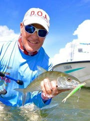 Capt. Danny Barrow of West Palm Beach caught and released this bonefish Oct. 2 while wade fishing the Indian River Lagoon near Sailfish Point on an incoming tide with a DOA Cal jerk bait.