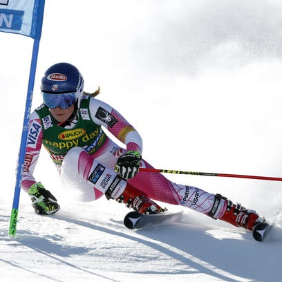 Mikaela Shiffrin of the United States celebrates her second place after completing an alpine ski, women's World Cup giant slalom, in Soelden, Austria, on Saturday.