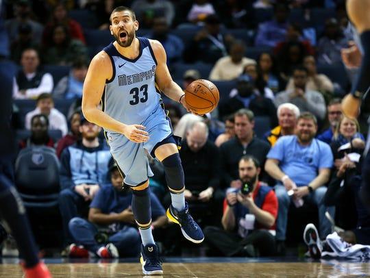 Memphis Grizzlies center Marc Gasol (33) heads down