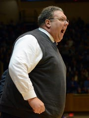 Marty Simmons reacts during the first half against the Duke Blue Devils at Cameron Indoor Stadium.