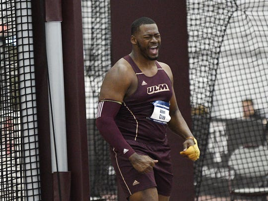 ULM senior Alton Clay placed second in the weight throw