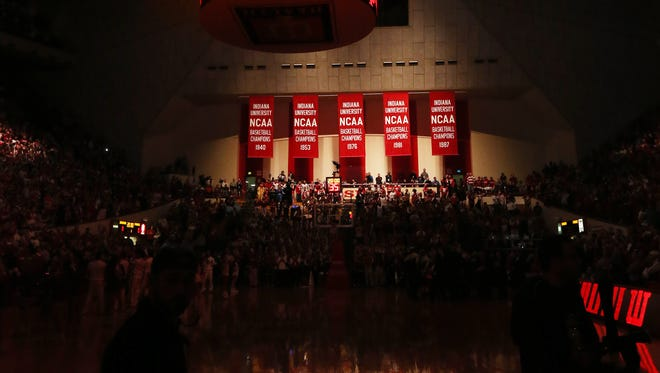 Lighting sets the mood on the court at Assembly Hall before the start of a game this season.