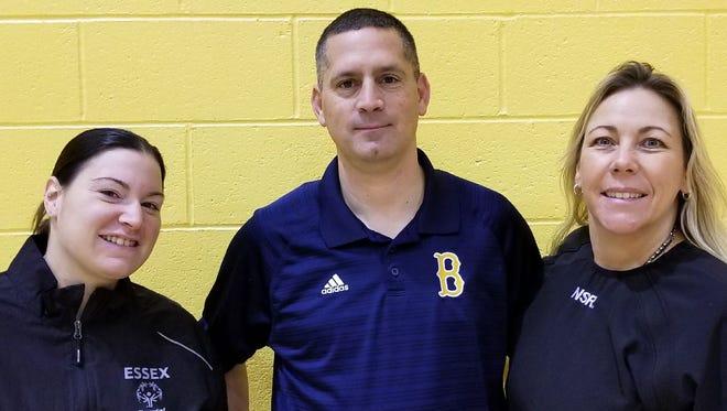 Belleville girls basketball coaching staff: (from left) assistant Meghan Leonard, head coach Chris Cantarella and assistant Cheryl Marion.