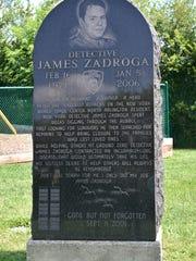 A memorial honoring Detective James Zadroga at the James Zadroga Soccer Field in North Arlington.
