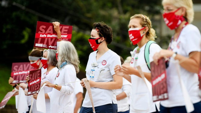 Mission nurses gathered to call for an increase in staffing Aug. 5 in Asheville.