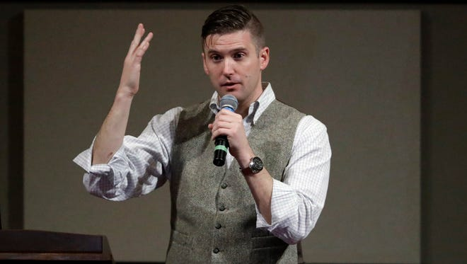 In this Dec. 6, 2016 file photo, Richard Spencer speaks at the Texas A&M University campus in College Station, Texas.