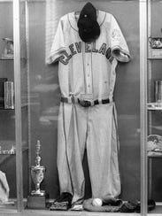Bob Feller's uniform hanging in the now-closed Bob