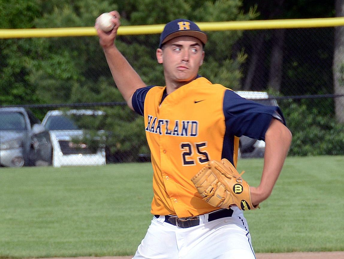 Hartland's John Baker pitched the Eagles to victory in the semifinal, then came on in relief and got the win in the final.