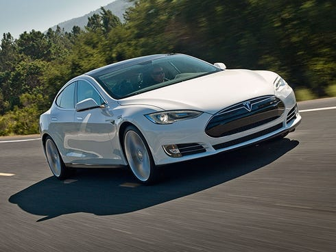 The Tesla Model S, the company's only current model.