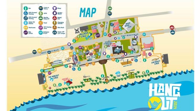 Hangout Music Festival 2014 grounds map.