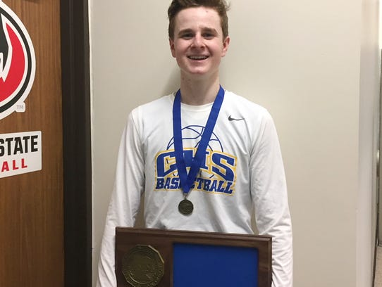 St. Cloud Cathedral junior Nick Schaefer holds the