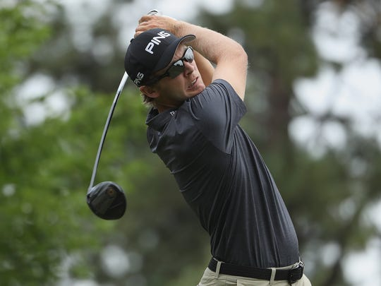 Seamus Power of Ireland plays his shot from the sixth tee  during the third round of the Barracuda Championship at Montreux Country Club on August 5,