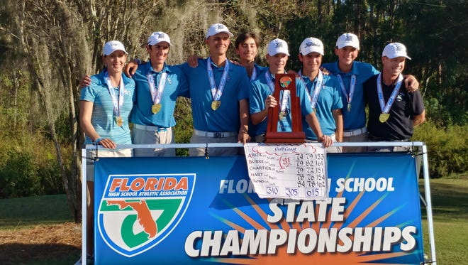 The Gulf Coast High School boys golf team became the first boys team from Collier County to win a state title, taking the Class 3A crown by a stroke on Saturday, Nov. 4, 2017.