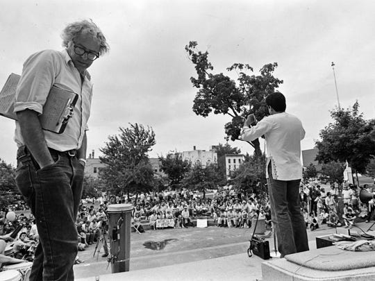 Burlington Mayor Bernie Sanders prepares to speak to a crowd assembled at City Hall Park in Burlington on July 28, 1984, for a march and rally in celebration of the the fifth anniversary of the Nicaraguan Revolution. Sanders' base of supporters in the state and particularly in Chittenden County started in the 1970s.