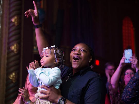 "Fans watch Knoxville's Chris Blue, who won ""The Voice"" Season 12, perform in the Tennessee Theatre to a sold out crowd Thursday, Sept. 7, 2017."