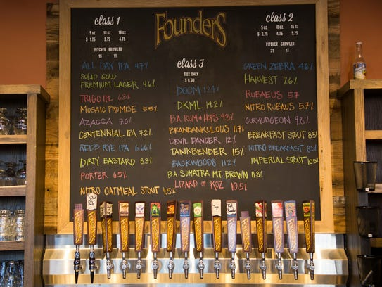 The beer on tap at Founders Brewing Co. in Detroit