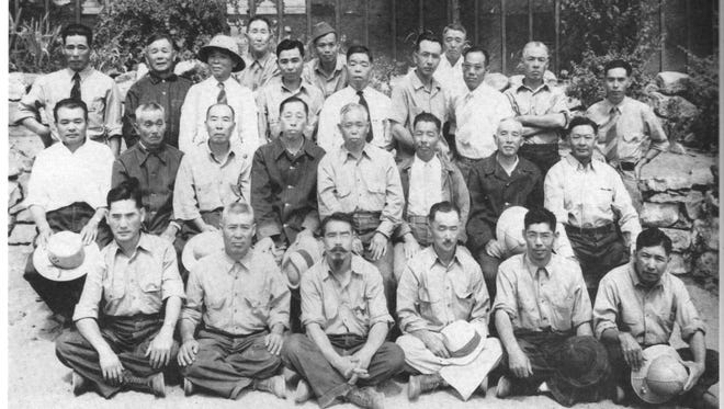 Internees of Japanese descent were photographed at the U.S. Internment Camp in Lordsburg, N.M. during World War II.