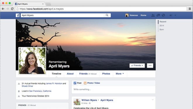 Facebook now allows users to designate someone to manage their page after death. This is a prototype of a Facebook legacy page.