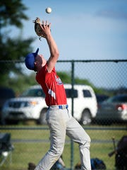 Campbelltown pitcher Zach Yingst catches an infield pop up during a 4-0 win over Myerstown in Game 1 of their quarterfinal series Tuesday.