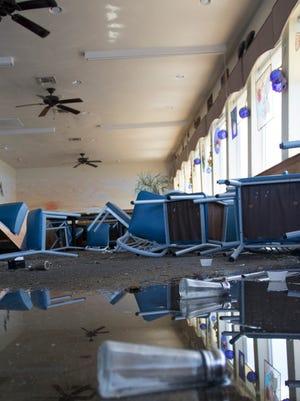 Roy's Restaurant was badly damaged during Hurricane Hermine in Steinhatchee, FL on Friday, September 2, 2016.