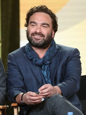 Johnny Galecki, an executive producer of CBS comedy 'Living Biblically,' speaks onstage during the CBS/Showtime portion of the 2018 Winter Television Critics Association Press Tour.