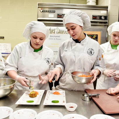 York Tech juniors Mary Parrigan, second from left,