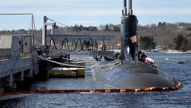 Preparations are under way for the commissioning of the U.S. Navy Virginia-class attack submarine PCU (pre-commissioning unit) Colorado at the naval submarine base in Groton, Conn.