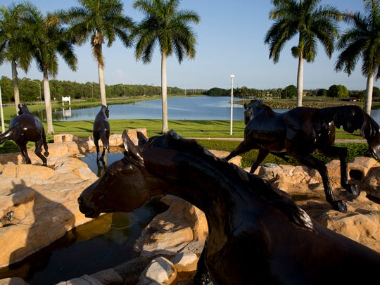 "The original five bronze horse sculptures, known as the ""Freedom Horses"", have guarded the entrance of Lely Resort along U.S. 41 East since 1992.  They can be seen here early Thursday August 3, 2017 in East Naples."