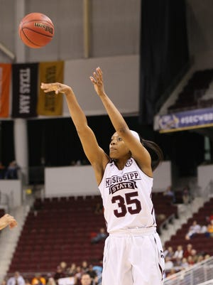 Mar 6, 2015; North Little Rock, AR, USA; Mississippi State Bulldogs forward Victoria Vivians (35) shoots the ball in the first half against the Kentucky Wildcats during the second round of the SEC Women's Tournament at Verizon Arena. Mandatory Credit: Nelson Chenault-USA TODAY Sports