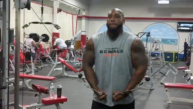 Devon Still works out at World Gym in Philadelphia on Tuesday.