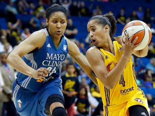 FILE - In this May 23, 2014, file photo, Tulsa Shock's Skylar Diggins (4) works the ball as Minnesota Lynx's Maya Moore defends during a WNBA basketball game in Tulsa, Okla. In her rookie season a year ago, Diggins' fame and hype far exceeded her production. Now, with maturity, renewed focus and a new coach, she has emerged as an All-Star starter who is every bit as bright a star on the court as off. (AP Photo/Tulsa World, Cory Young, File)