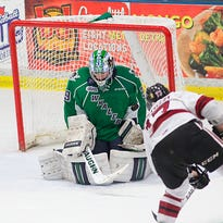 Plymouth's Will Bitten (No. 41) can't beat Guelph goalie Justin Nichols on this play Saturday night, but the rest of the Whalers didn't have any better luck. Plymouth lost 3-0.