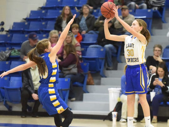 Mountain Home's Emily Payne puts up a 3-pointer during