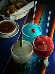 A variety of margaritas and the salsa and chips that comes with each meal at Hacienda Restaurant in Paterson.  LESLIE BARBARO / STAFF PHOTOGRAPHER