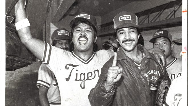 The Exxon Tigers celebrate a victory at Paseo Stadium on June 11, 1986.
