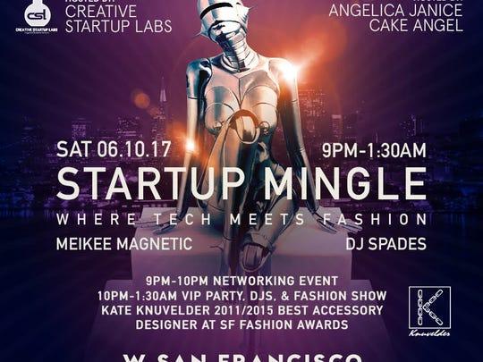 June's Start-up Mingle flier, with a similar design.