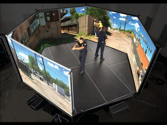 The VirTra-V-300 is the world's first 300-degree training simulator offered by VirTra. Tom Green County is looking at getting a 180-degree immersive training simulator.