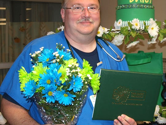 Tom Conrad, a registered nurse in the Critical Care Unit at HFM Medical Center, was honored with the DAISY Award for Extraordinary Nurses.