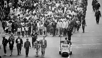 About 400 people head on foot from Garfield Park at N.4th and W. Chambers streets to City Hall as part of the Poor People's Campaign march in Milwaukee on May 30, 1968. At the front of the marchers was a donkey named Mabel, a symbol of the plight of the poor. This photo was first published in the May 31, 1968, Milwaukee Sentinel.