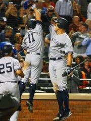 New York Yankees centerfielder Brett Gardner (11) celebrates